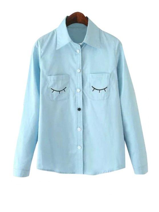 latest Eyelash Embroidery Long Sleeve Shirt - BLUE S