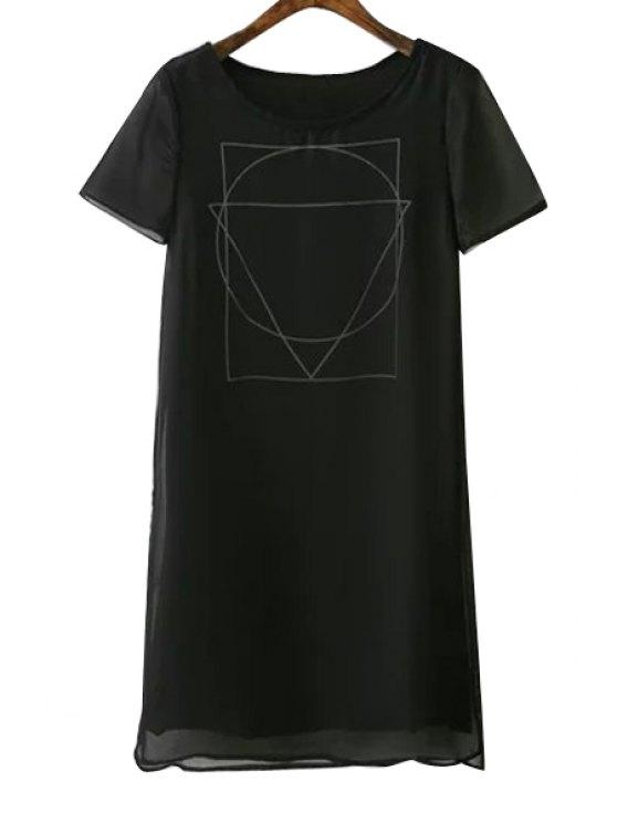 shop Short Sleeves Geometric Print Dress - BLACK S