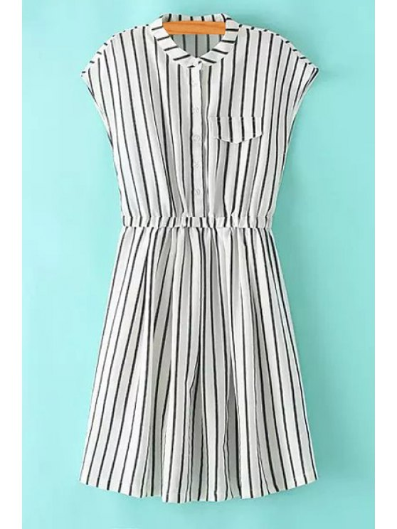 fancy Striped Stand Neck Sleeveless Dress - STRIPE S