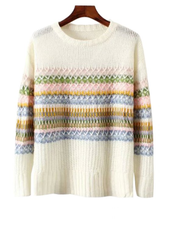 buy Colorful Stripe Long Sleeve Sweater - WHITE S
