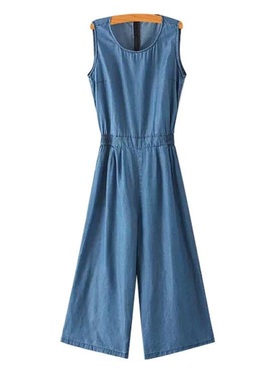 hot Blue Sleeveless Wide Leg Jumpsuit - BLUE S