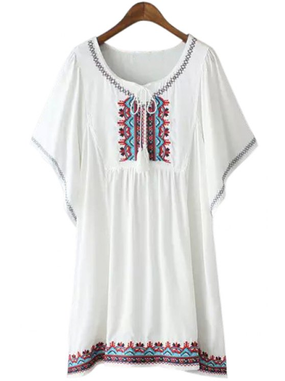 outfit Embroidery Tie-Up Short Sleeve T-Shirt - WHITE ONE SIZE(FIT SIZE XS TO M)