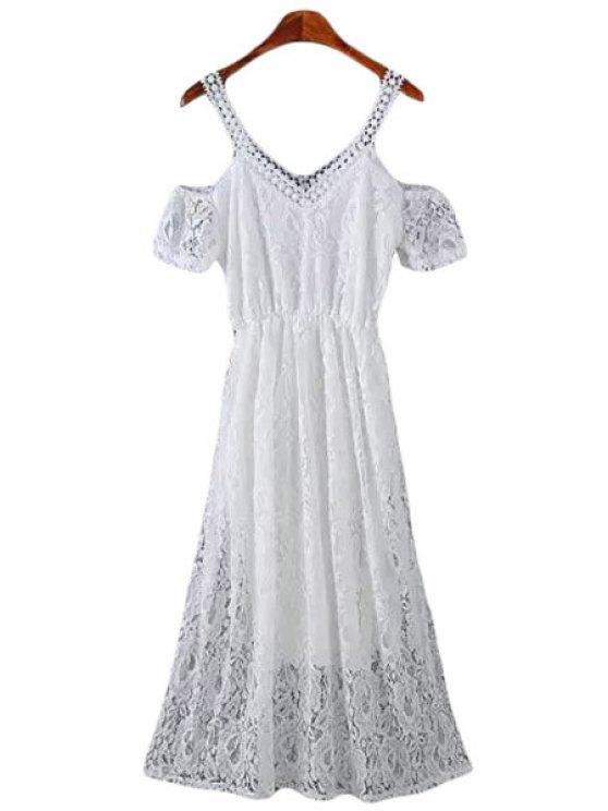 women's Lace Short Sleeve Off The Shoulder Dress - WHITE M