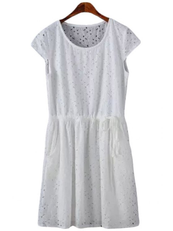 shop White Short Sleeves Lace Dress - WHITE S