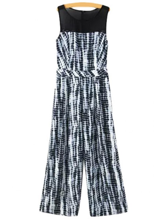 shop Chiffon Spliced Sleeveless Jumpsuit - WHITE AND BLACK S
