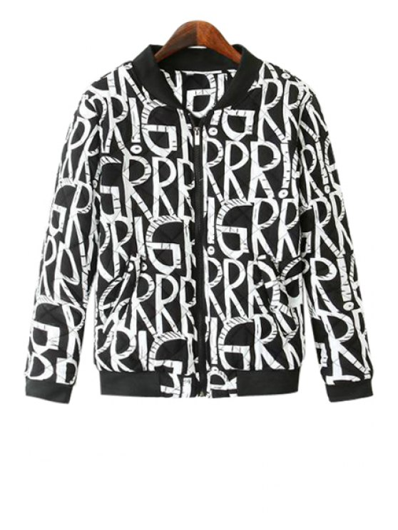 hot Stand-Up Collar White Letter Print Coat - BLACK S