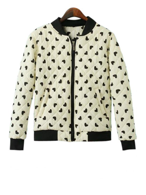 trendy Stand-Up Collar Black Heart Print Coat - WHITE S