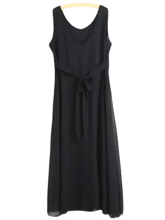 online Solid Color Chiffon Sleeveless Maxi Dress - BLACK L
