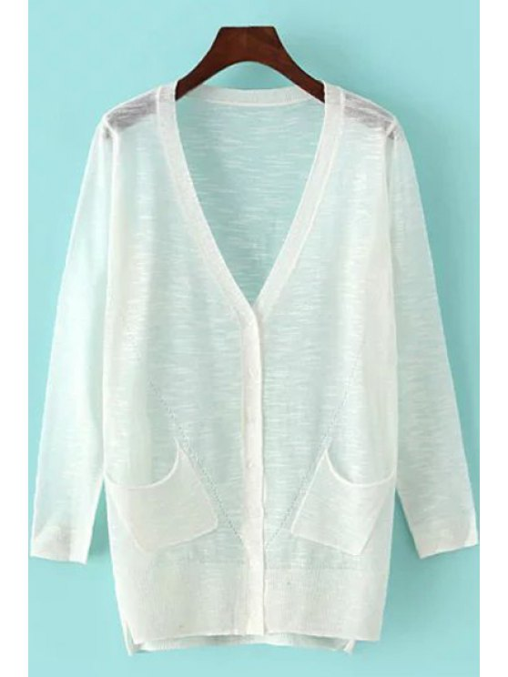 lady See-Through Pocket Long Sleeve Cardigan - WHITE ONE SIZE(FIT SIZE XS TO M)