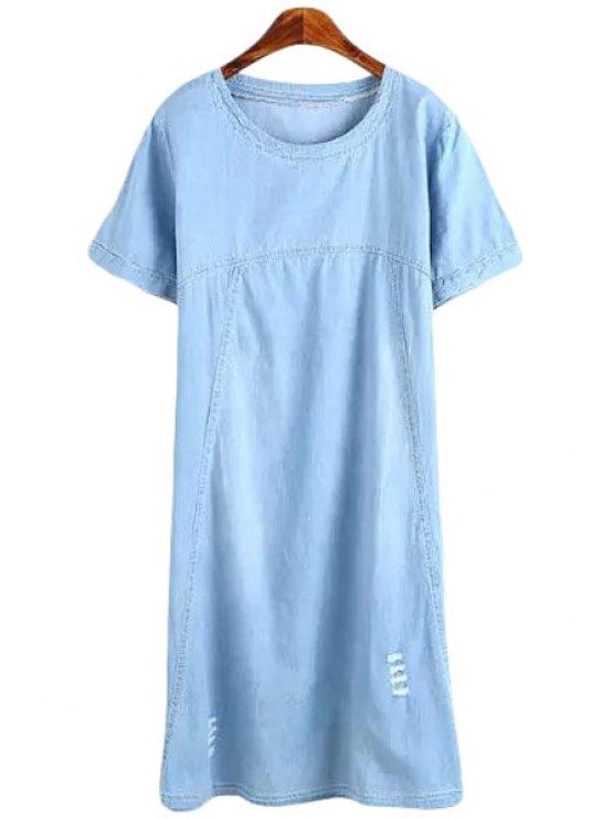 affordable Blue Frayed Short Sleeve Denim Dress - LIGHT BLUE S