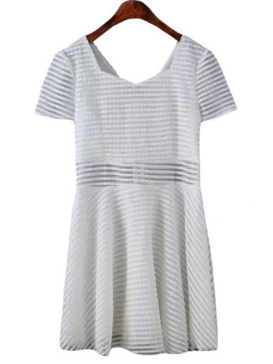 latest Stripes Short Sleeve A Line Dress - WHITE S