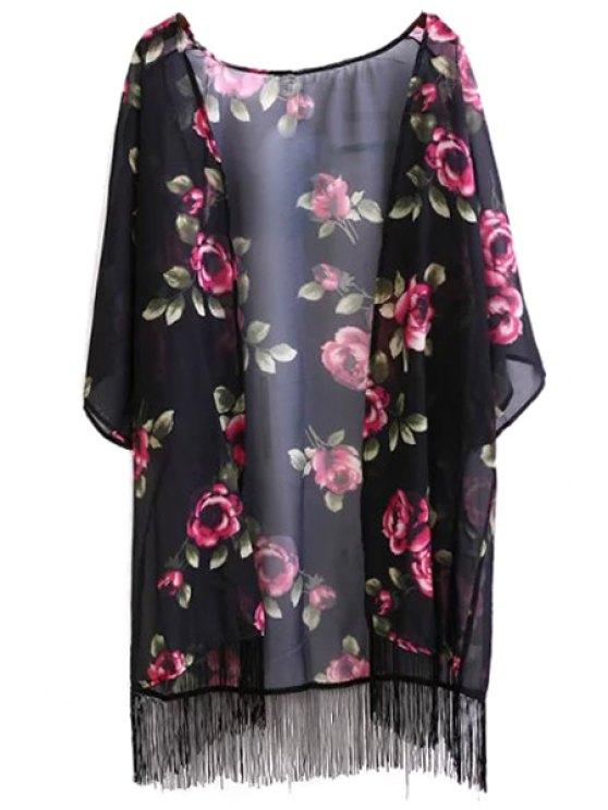 online Floral Print Fringe Collarless Half Sleeve Kimono - BLACK S