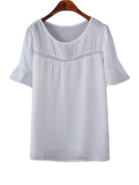 outfits White Short Sleeve Chiffon Blouse - WHITE S