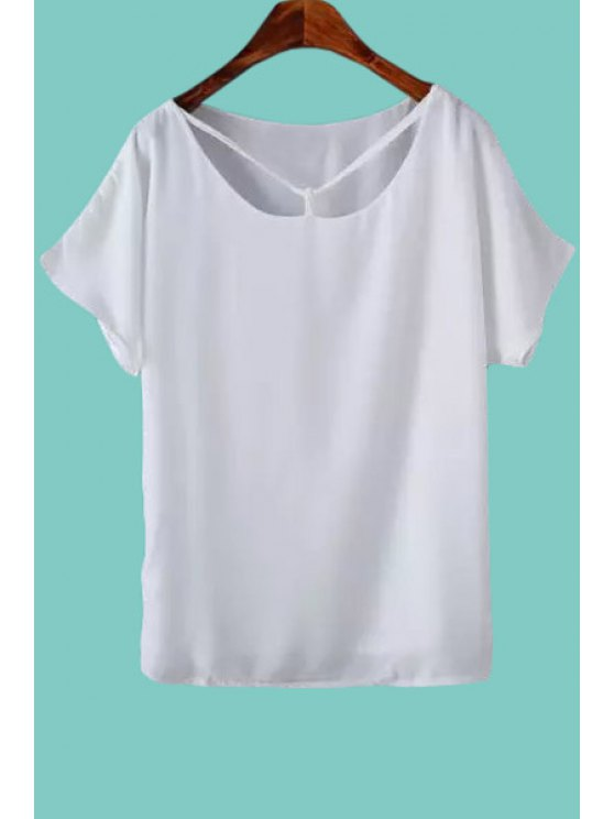 latest Solid Color Cut Out Short Sleeve Blouse - WHITE M