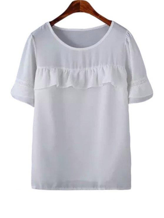 unique White Ruffled Spliced Short Sleeve Blouse - WHITE S
