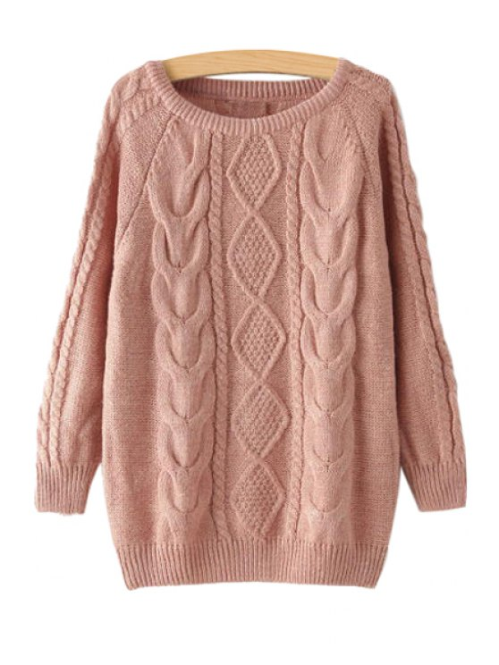 chic Jewel Neck Argyle Plait Long Sleeve Sweater - PINK ONE SIZE(FIT SIZE XS TO M)