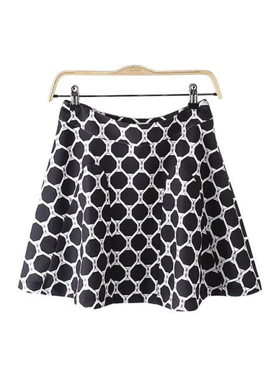 fancy Geometric Print A Line Skirt - BLACK S