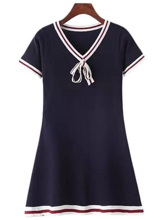 women's Stripe Short Sleeve Knit Flare Dress - CADETBLUE ONE SIZE(FIT SIZE XS TO M)