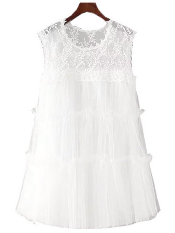 women White Lace Sleeveless A Line Dress - WHITE S