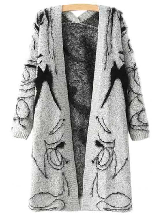 unique Collarless Black Figure Pattern Long Sleeve Cardigan - GRAY ONE SIZE(FIT SIZE XS TO M)
