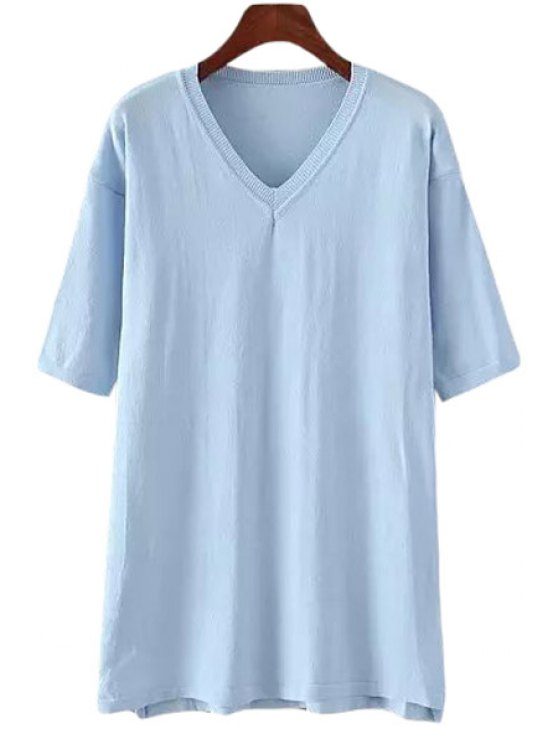 lady V Neck Solid Color Half Sleeve Knitwear - BLUE ONE SIZE(FIT SIZE XS TO M)