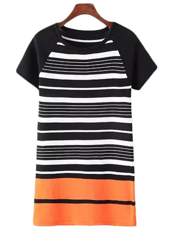 online Stripes Spliced Short Sleeve Sweater Dress - BLACK ONE SIZE(FIT SIZE XS TO M)