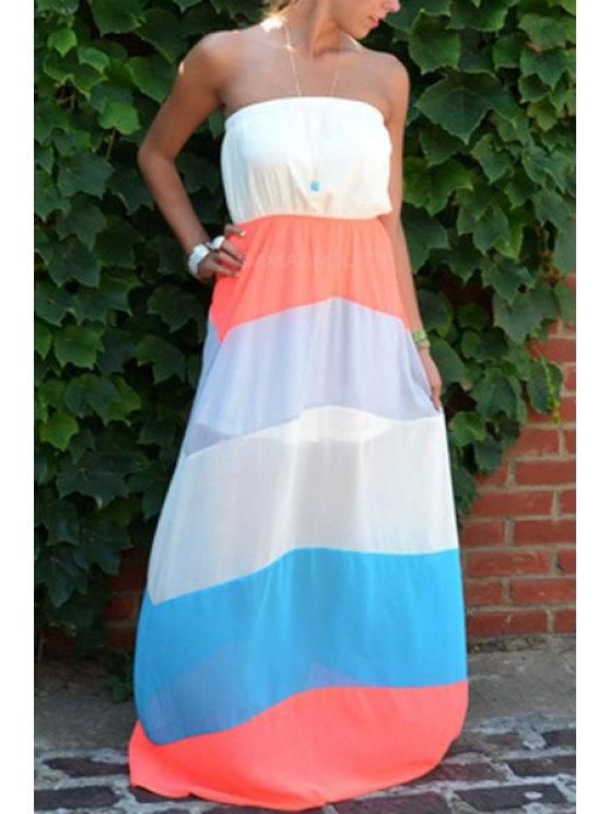 ladies Strapless Stripes Color Block Chiffon Maxi Dress - WHITE M