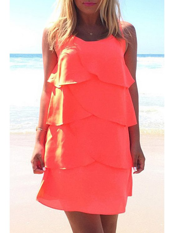 best Layered Solid Color Chiffon Dress - JACINTH S