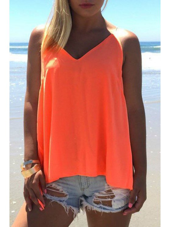 affordable Spaghetti Strap Solid Color Chiffon Backless Tank Top - ORANGE M