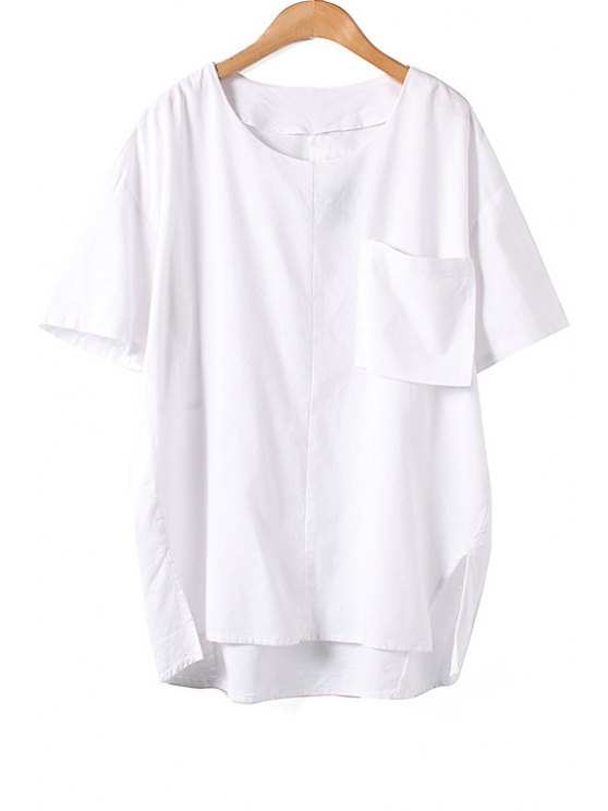 outfit White Linen Short Sleeve T-Shirt - WHITE ONE SIZE(FIT SIZE XS TO M)