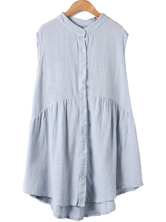 womens Solid Color Stand Neck Sleeveless Shirt - BLUE ONE SIZE(FIT SIZE XS TO M)
