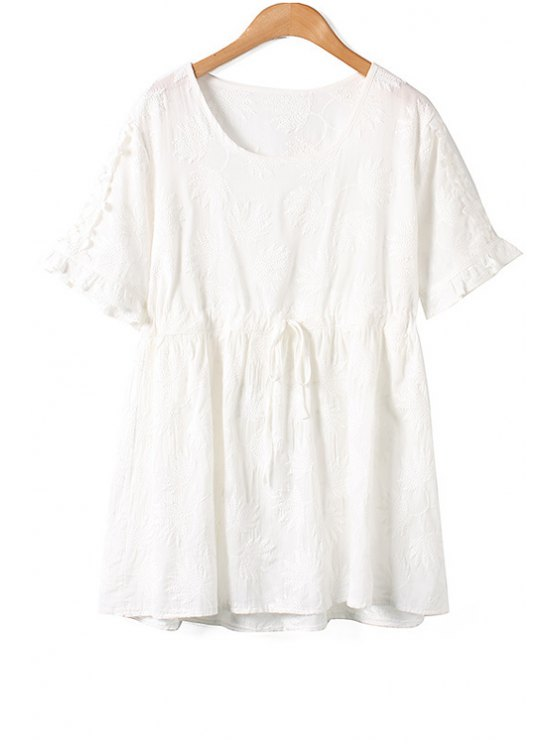 fancy Leaf Embroidery Short Sleeve Dress - WHITE ONE SIZE(FIT SIZE XS TO M)
