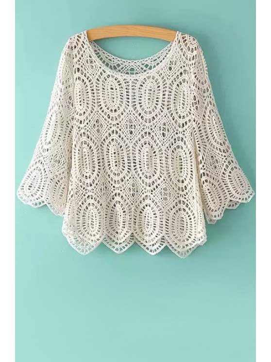 new Openwork Solid Color Half Sleeve Blouse - WHITE ONE SIZE(FIT SIZE XS TO M)