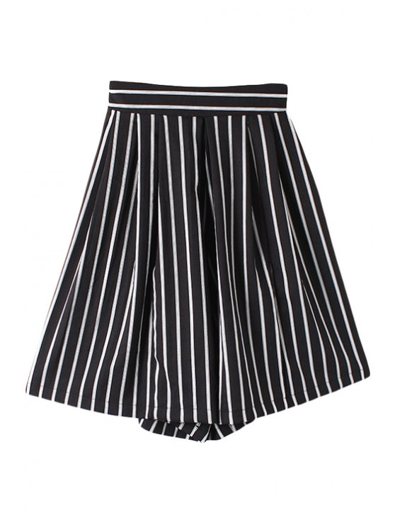 buy Striped Wide Leg Fifth Pants - BLACK M