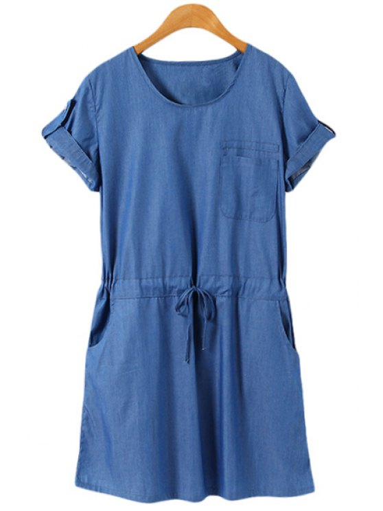 outfits Short Sleeves Blue Denim Dress - BLUE S
