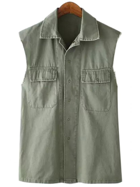 outfit Pocket Back Letter Print Sleeveless Waistcoat - ARMY GREEN S