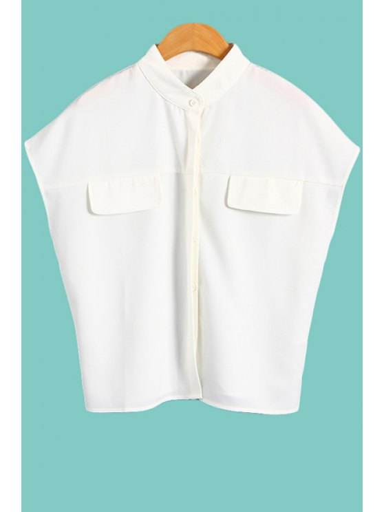 ladies Solid Color Stand Collar Sleeveless Shirt - WHITE S