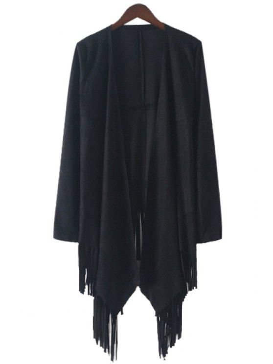 trendy Solid Color Fringe Long Sleeve Trench Coat - BLACK L