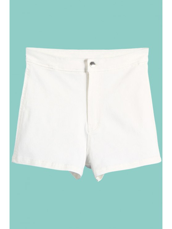 ladies High Waisted Denim Shorts - WHITE S