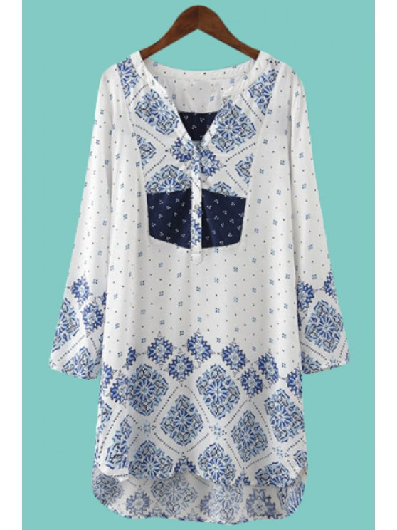 shops Blue Floral Print High Low Long Sleeve Shirt - BLUE AND WHITE L