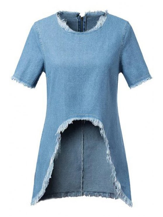 affordable Asymmetrical Fringe Denim Short Sleeve T-Shirt - BLUE S