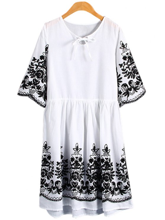 unique Half Sleeves Floral Embroidery Dress - WHITE M