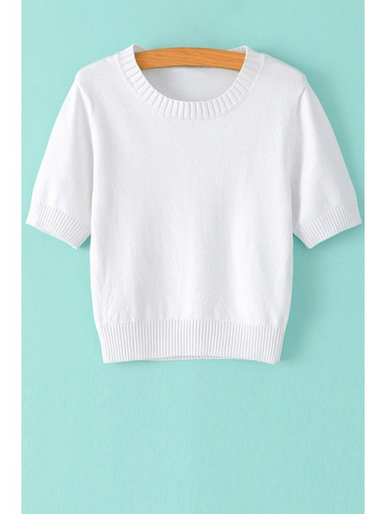 fashion Solid Color Short Sleeve Sweater - WHITE S