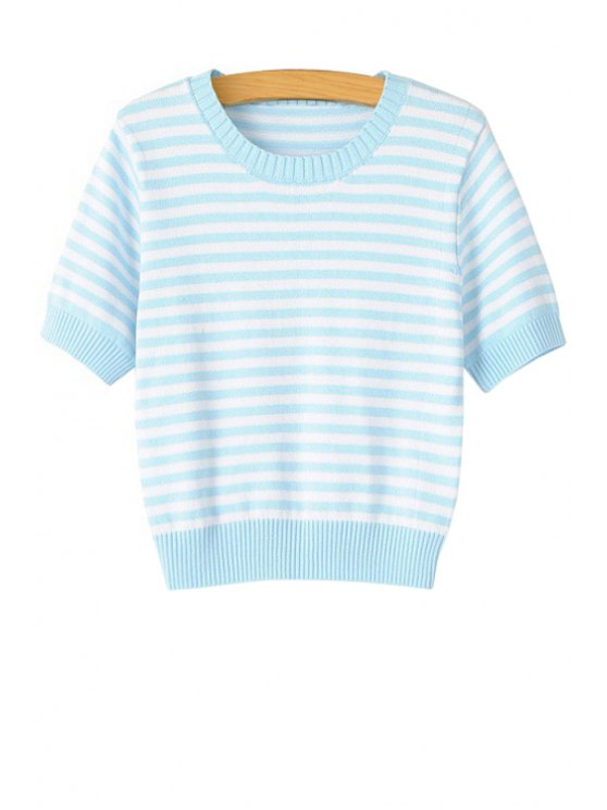 fashion Blue White Stripe Short Sleeve Sweater - LIGHT BLUE M