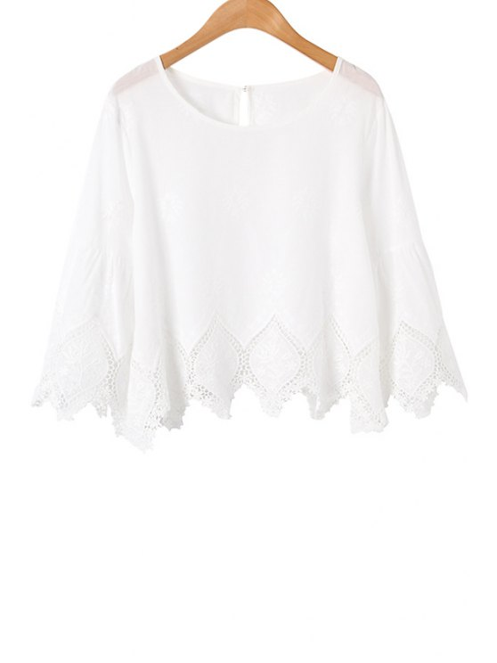 sale Lace Spliced Floral 3/4 Sleeve Blouse - WHITE M