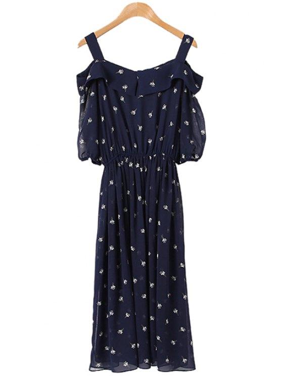 women Ice-Cream Print Off The Shoulder Dress - PURPLISH BLUE L