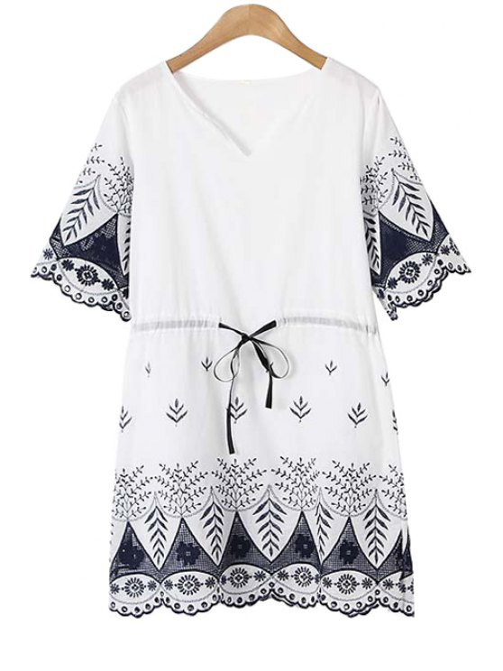 online V Neck Flower Embroidery Dress - WHITE ONE SIZE(FIT SIZE XS TO M)