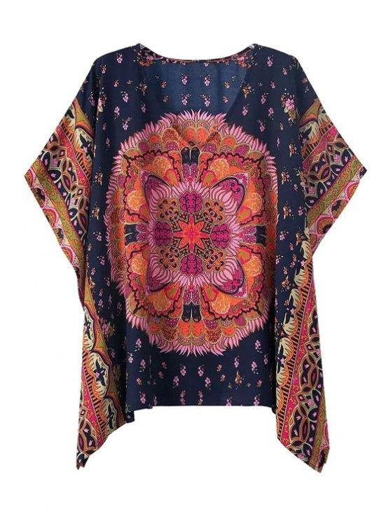 best V-Neck Floral Print Color Block Short Sleeve T-Shirt - COLORMIX S