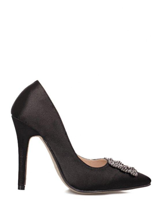 fancy Rhinestones Satin Pointed Toe Pumps - BLACK 35