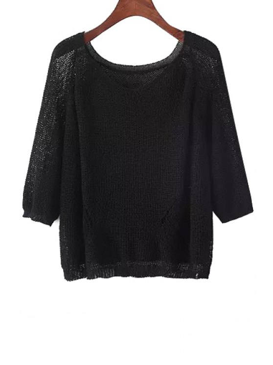 shop Solid Color See-Through Knitted Sweater - BLACK ONE SIZE(FIT SIZE XS TO M)